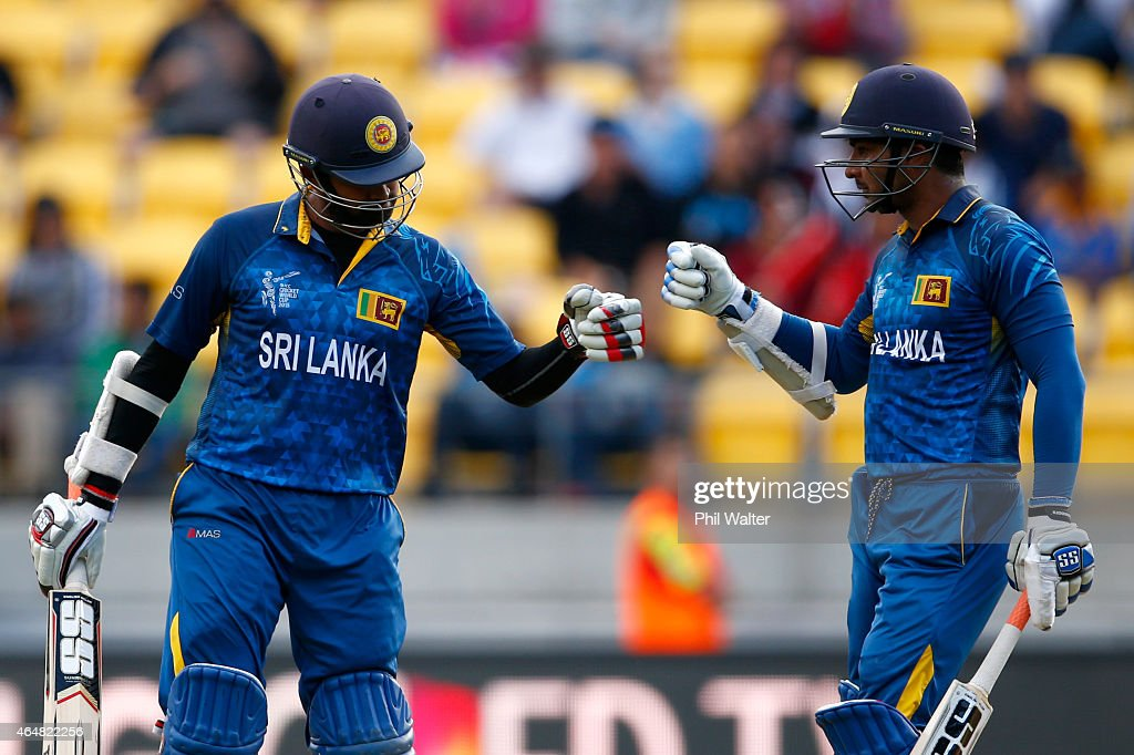 <a gi-track='captionPersonalityLinkClicked' href=/galleries/search?phrase=Lahiru+Thirimanne&family=editorial&specificpeople=5946377 ng-click='$event.stopPropagation()'>Lahiru Thirimanne</a> (L) and <a gi-track='captionPersonalityLinkClicked' href=/galleries/search?phrase=Kumar+Sangakkara&family=editorial&specificpeople=206804 ng-click='$event.stopPropagation()'>Kumar Sangakkara</a> of Sri Lanka (R) during the 2015 ICC Cricket World Cup match between England and Sri Lanka at Wellington Regional Stadium on March 1, 2015 in Wellington, New Zealand.