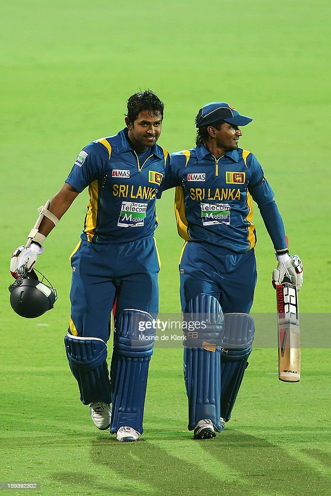 <a gi-track='captionPersonalityLinkClicked' href=/galleries/search?phrase=Lahiru+Thirimanne&family=editorial&specificpeople=5946377 ng-click='$event.stopPropagation()'>Lahiru Thirimanne</a> and Kushal Janith Parera of Sri Lanka leave the field after game two of the Commonwealth Bank One Day International series between Australia and Sri Lanka at Adelaide Oval on January 13, 2013 in Adelaide, Australia.
