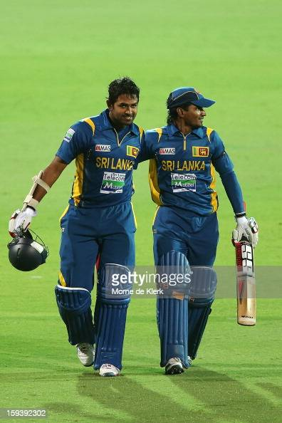 Lahiru Thirimanne and Kushal Janith Parera of Sri Lanka leave the field after game two of the Commonwealth Bank One Day International series between...