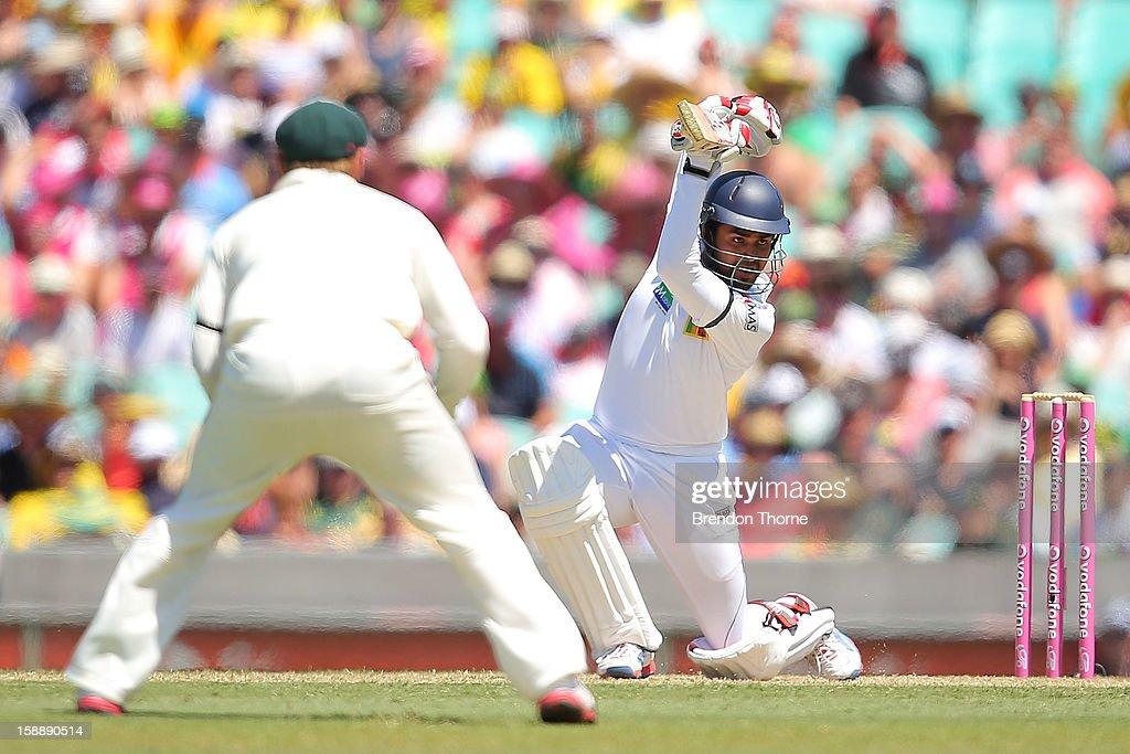 Lahiru Thirimanne of Sri Lanka bats during day one of the Third Test match between Australia and Sri Lanka at the Sydney Cricket Ground on January 3, 2013 in Sydney, Australia.