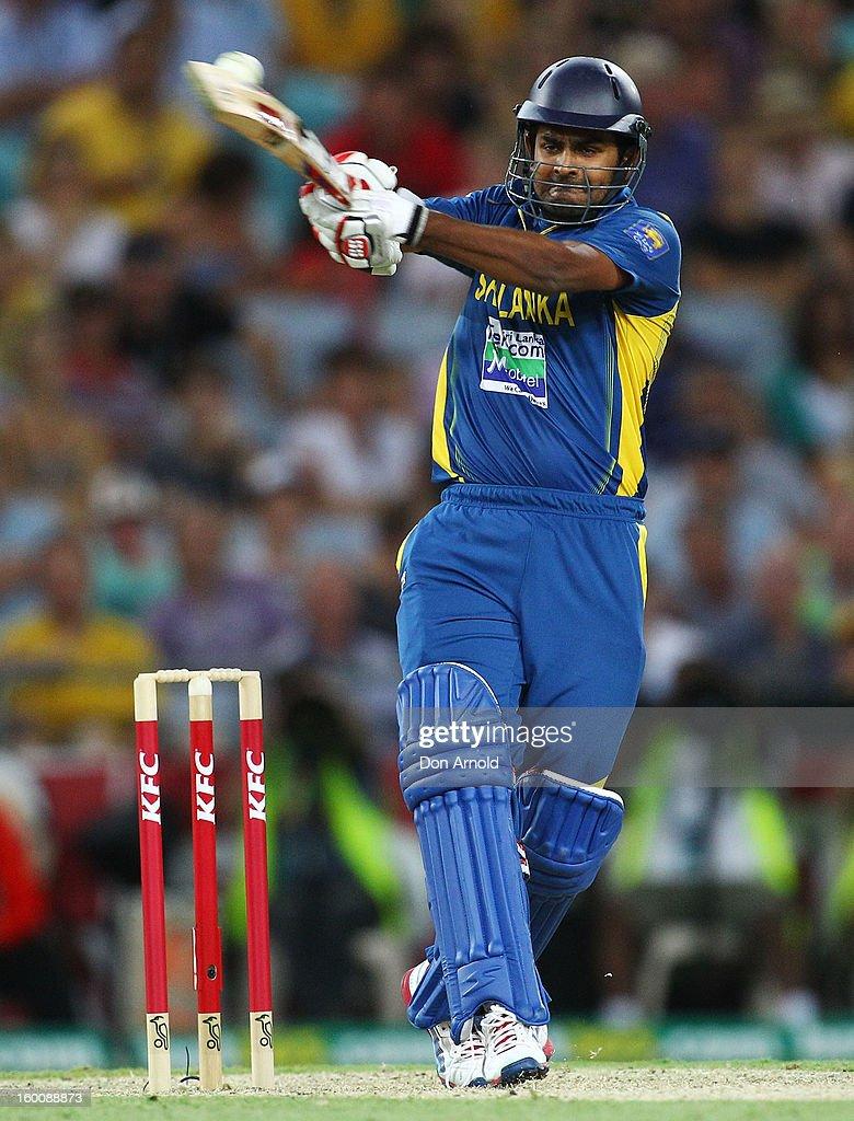 Lahiru Thirimanne of Sri Lanka bats during game one of the Twenty20 international match between Australia and Sri Lanka at ANZ Stadium on January 26, 2013 in Sydney, Australia.