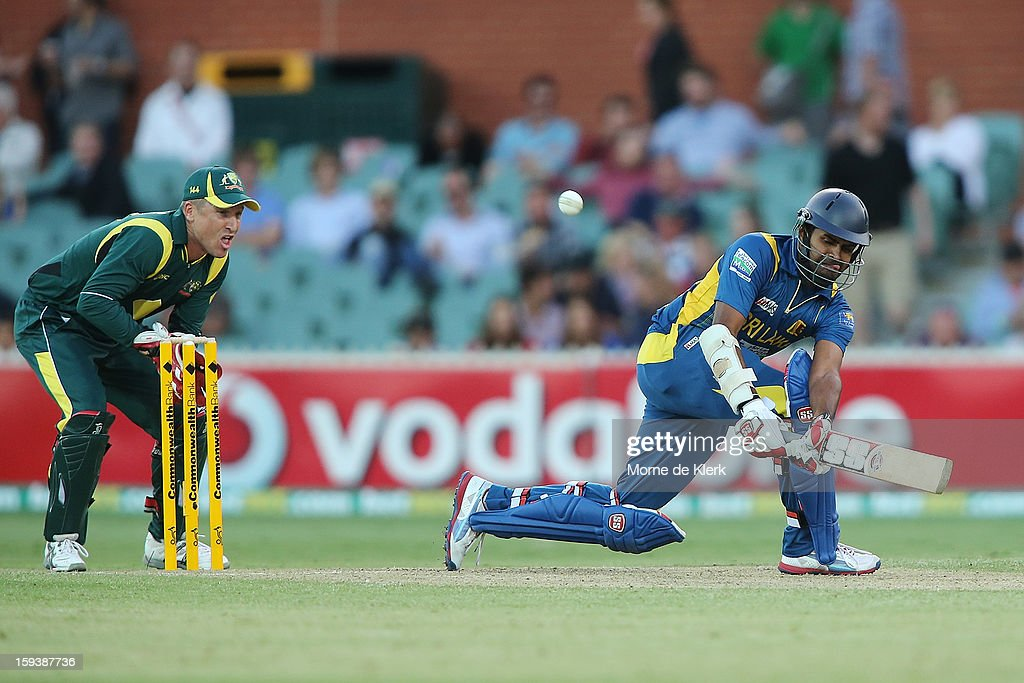 Lahiru Thirimanne of Sri Lanka bats during game two of the Commonwealth Bank One Day International series between Australia and Sri Lanka at Adelaide Oval on January 13, 2013 in Adelaide, Australia.