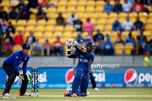 Lahiru Thirimanne of Sri Lanka bats during the 2015 ICC Cricket World Cup match between England and Sri Lanka at Wellington Regional Stadium on March...