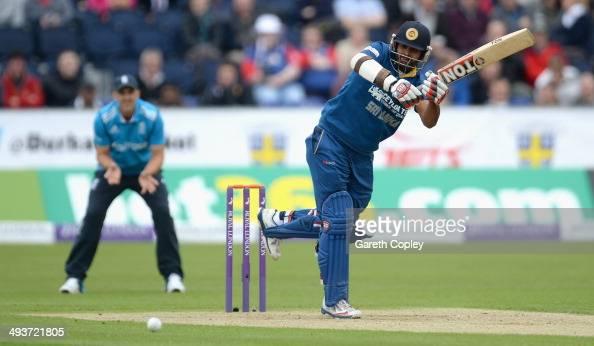 Lahiru Thirimanne of Sri Lanka bats during the 2nd Royal London One Day International match between England and Sri Lanka at The Riverside on May 25...