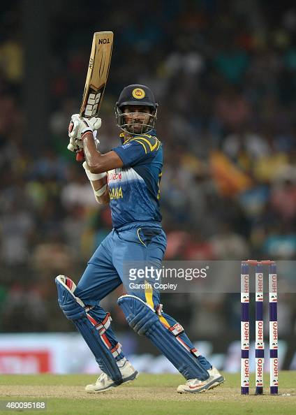 Lahiru Thirimanne of Sri Lanka bats during the 4th One Day International match between Sri Lanka and England at R Premadasa Stadium on December 7...