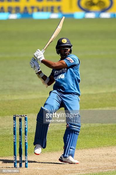 Lahiru Thirimanne of Sri Lanka bats during the third One Day International match between New Zealand and Sri Lanka at Saxton Field on December 31...