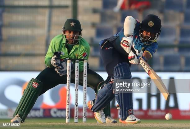 Lahiru Thirimanne of Sri Lanka bats during the third one day international match between Pakistan and Sri Lanka in Abu Dhabi at Zayed Cricket Stadium...