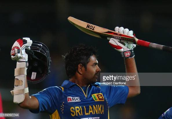 Lahiru Thirimanne of Sri Lanka celebrates after he scored the winning runs and his century during game two of the Commonwealth Bank One Day...