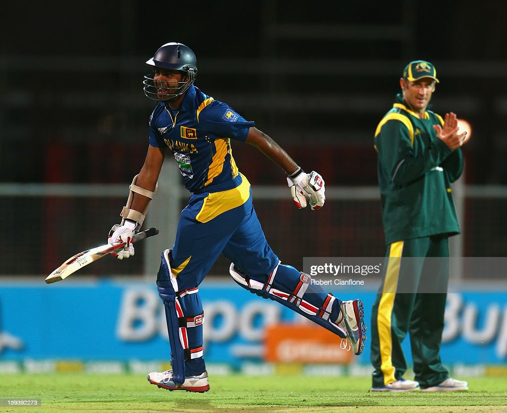 Lahiru Thirimanne of Sri Lanka celebrates after he scored the winning runs and his century during game two of the Commonwealth Bank One Day International series between Australia and Sri Lanka at Adelaide Oval on January 13, 2013 in Adelaide, Australia.