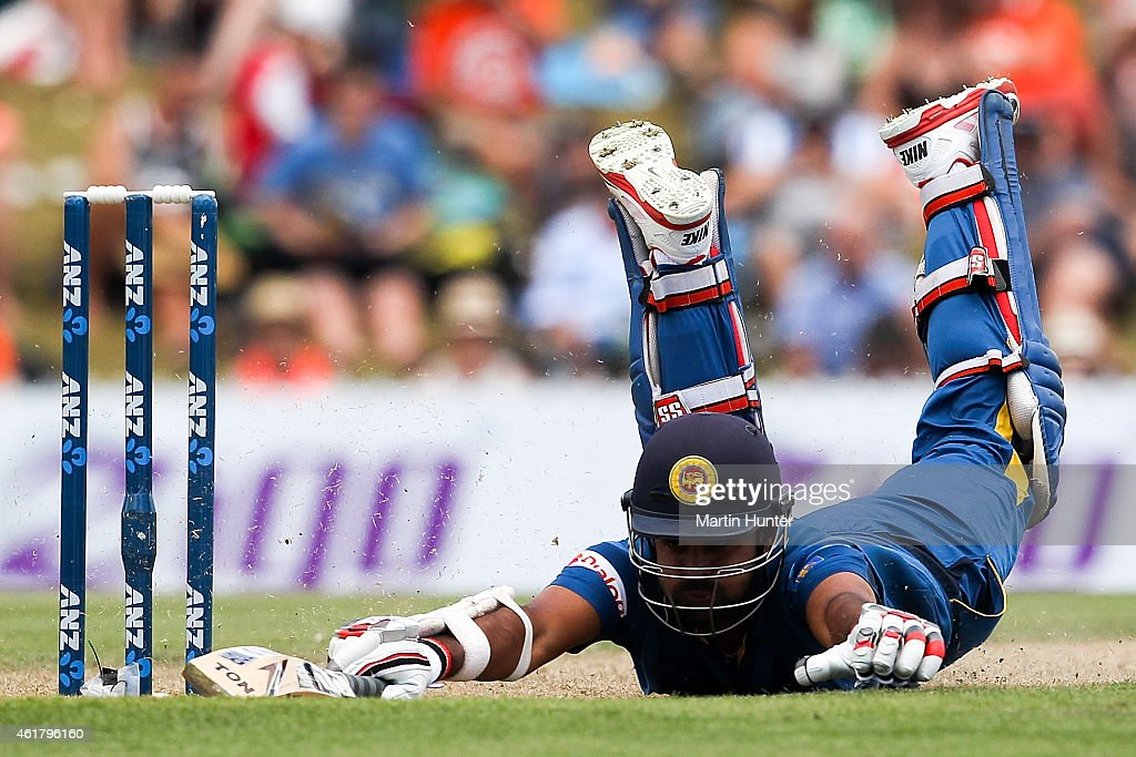 <a gi-track='captionPersonalityLinkClicked' href=/galleries/search?phrase=Lahiru+Thirimanne&family=editorial&specificpeople=5946377 ng-click='$event.stopPropagation()'>Lahiru Thirimanne</a> of Sri Lanka dives to make his ground during the One Day International match between New Zealand and Sri Lanka at Saxton Field on January 20, 2015 in Nelson, New Zealand.