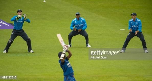 Lahiru Thirimanne of Sri Lanka hits the ball and is caught out by wicketkeeper Jos Buttler of England during the England v Sri Lanka third one day...