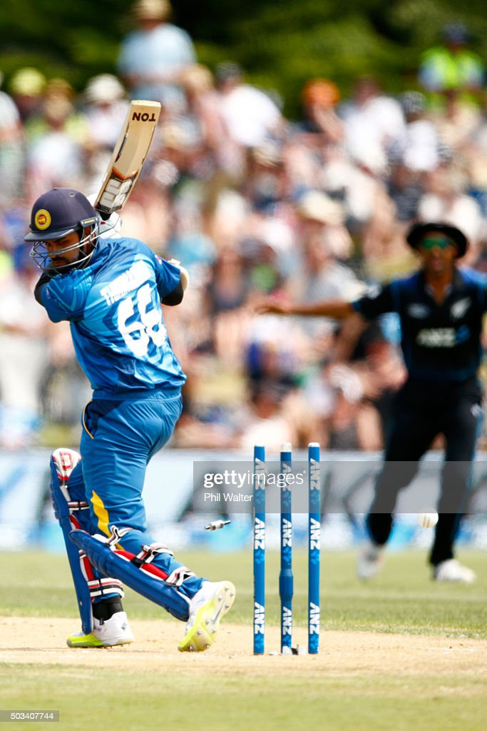 <a gi-track='captionPersonalityLinkClicked' href=/galleries/search?phrase=Lahiru+Thirimanne&family=editorial&specificpeople=5946377 ng-click='$event.stopPropagation()'>Lahiru Thirimanne</a> of Sri Lanka is bowled by Matt Henry of New Zealand during game five of the One Day International series between New Zealand and Sri Lanka at Bay Oval on January 5, 2016 in Mount Maunganui, New Zealand.