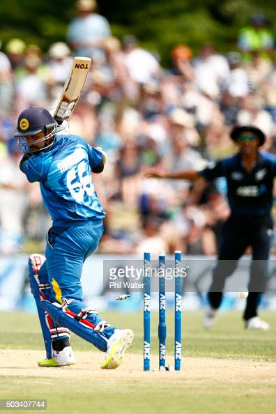 Lahiru Thirimanne of Sri Lanka is bowled by Matt Henry of New Zealand during game five of the One Day International series between New Zealand and...