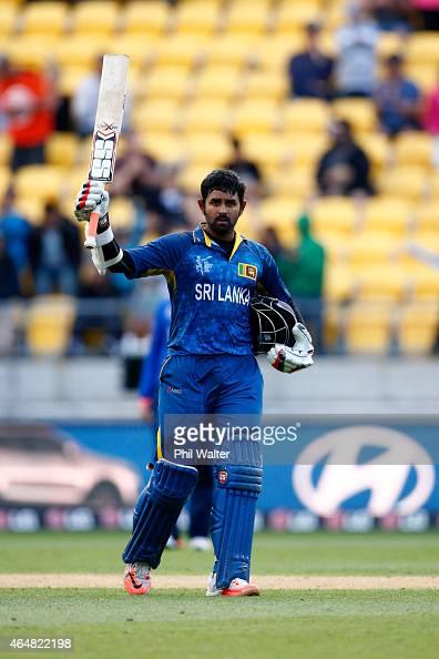 Lahiru Thirimanne of Sri Lanka makes hius century during the 2015 ICC Cricket World Cup match between England and Sri Lanka at Wellington Regional...