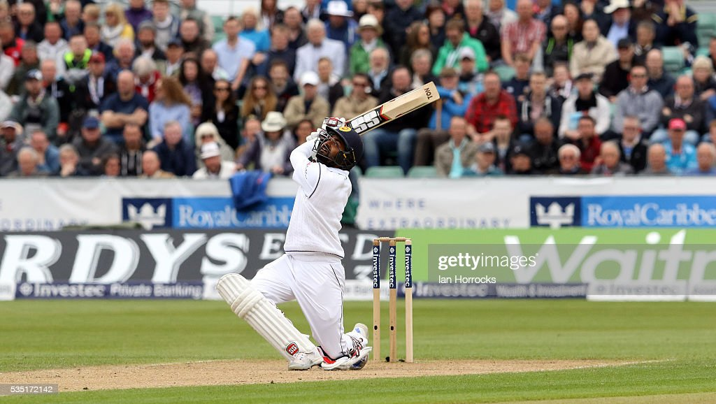 Lahiru Thirimanne of Sri Lanka skies a ball and is caught to end the Sri Lankan innings during day three of the 2nd Investec Test match between England and Sri Lanka at Emirates Durham ICG on May 29, 2016 in Chester-le-Street, United Kingdom.