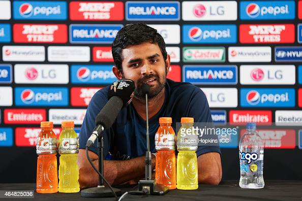 Lahiru Thirimanne of Sri Lanka speaks at a press conference after the 2015 ICC Cricket World Cup match between England and Sri Lanka at Wellington...