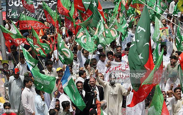 Pakistani opposition parties activists shout antiMusharraf slogans during a protest rally in Lahore 19 July 2007 against the suicide bomb attack at a...
