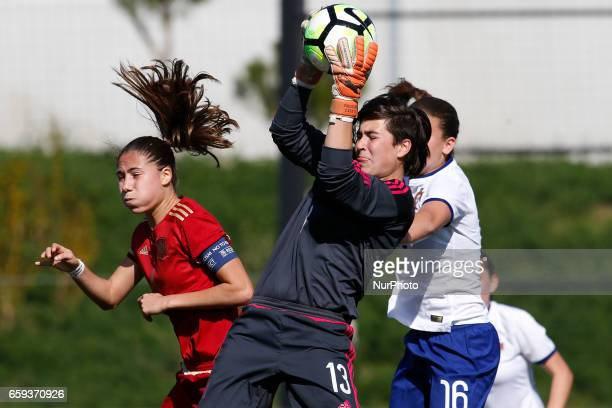 Laia Aleixandri and Catalina Coll of Spain during the UEFA U17 Women's Championship Qualifier match between Spain and Portugal at Cidade do Futebol...
