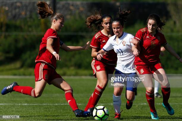 Laia Aleixandri of Spain and Ana Isabel Teles of Portugal during the UEFA U17 Women's Championship Qualifier match between Spain and Portugal at...