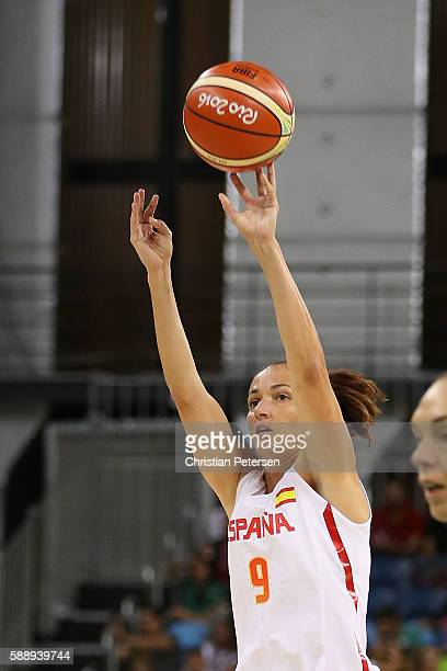 Laia Palau of Spain attempts a shot against Senegal during the women's basketball game on Day 7 of the Rio 2016 Olympic Games at the Youth Arena on...