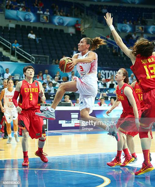 Laia Palau of Spain jumps to score during the 2014 FIBA Women's World Championship quarterfinal basketball match between Spain and China at...
