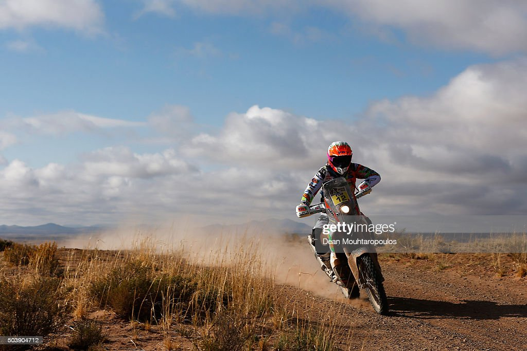 <a gi-track='captionPersonalityLinkClicked' href=/galleries/search?phrase=Laia+Sanz&family=editorial&specificpeople=6375594 ng-click='$event.stopPropagation()'>Laia Sanz</a> of Spain riding on and for KTM 450 RALLY REPLICA KTM RACING TEAM competes on day 5 from Jujuy in Argentina to Uyuni in Bolivia during stage five of the 2016 Dakar Rally on January 7, 2016 in Villazon, Bolivia .