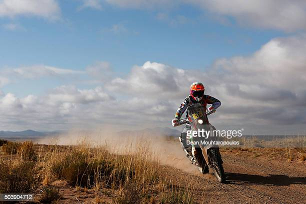 Laia Sanz of Spain riding on and for KTM 450 RALLY REPLICA KTM RACING TEAM competes on day 5 from Jujuy in Argentina to Uyuni in Bolivia during stage...