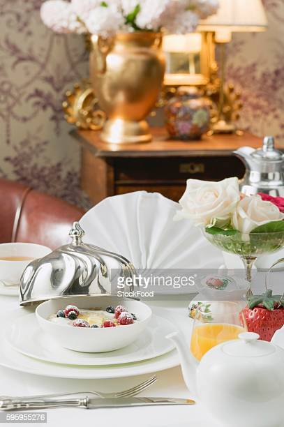 Laid breakfast table in a luxury hotel