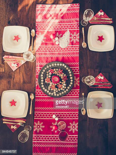 Laid dining table with Christmas decoration