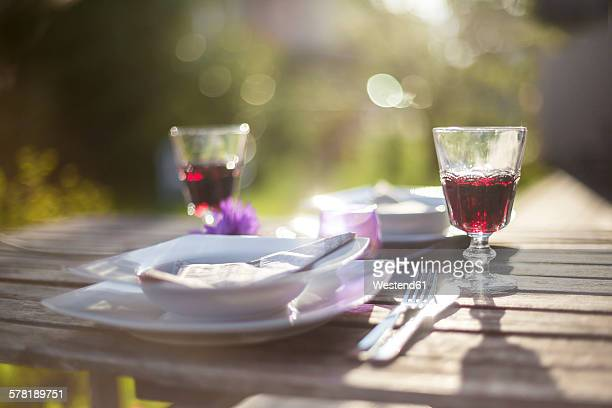 Laid garden table with two glasses of red wine at backlight