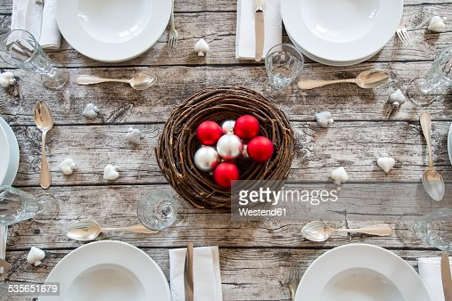 Laid table with Christmas decoration