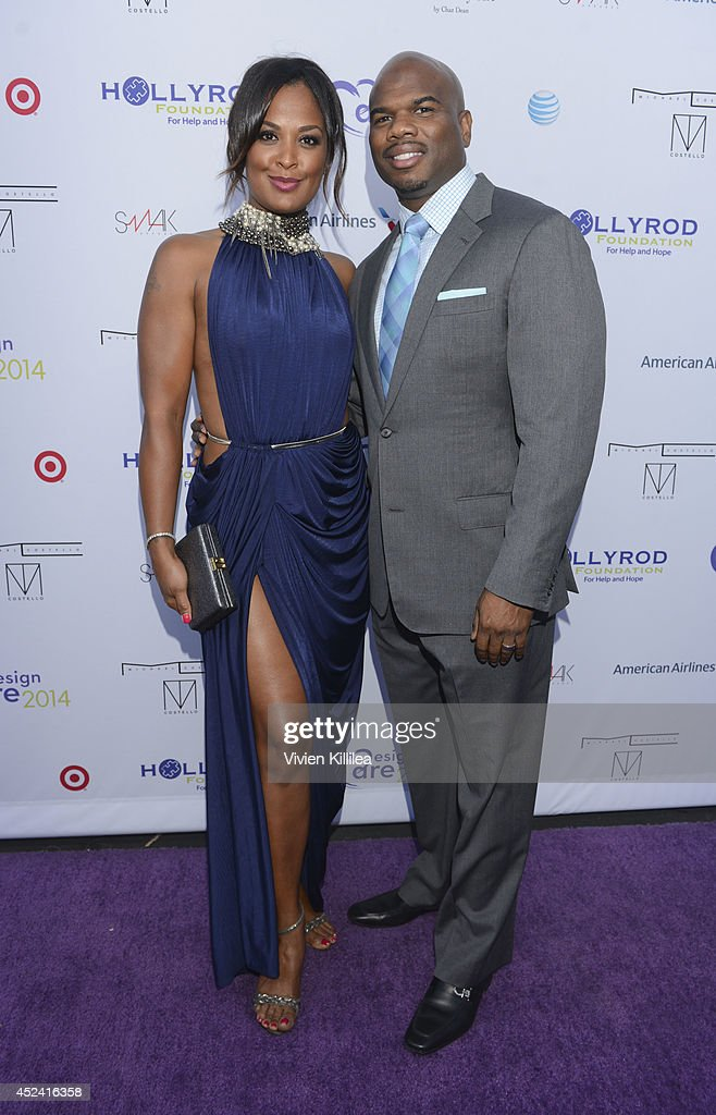 Laila Ali and Curtis Conway attend the 16th Annual DesignCare To Benefit The HollyRod Foundation at The Lot Studios on July 19 2014 in Los Angeles...
