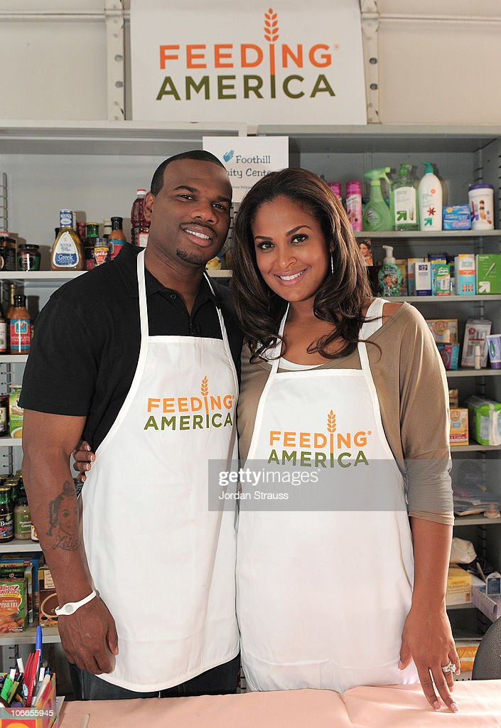 Laila Ali and Curtis Conway kick off Feeding America's Hunger Free Families Campaign at The Food Bank on September 28 2010 in Pasadena California