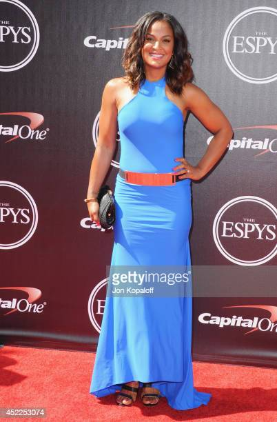 Laila Ali arrives at the 2014 ESPYS at Nokia Theatre LA Live on July 16 2014 in Los Angeles California