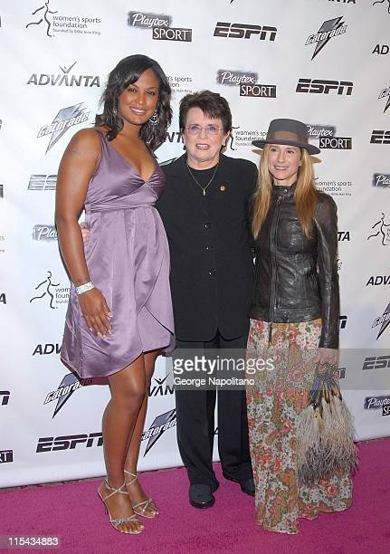 Laila Ali Billie Jean King and actress Holly Hunter arrive on the Playtex Sport Pink Carpet at the Women's Sports Foundation's 28th Annual Salute to...