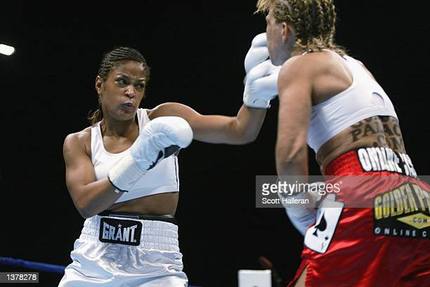 Laila Ali daughter of Muhammad Ali during her bout against Suzy Taylor at Aladdin Casino in Las Vegas Nevada on August 17 2002