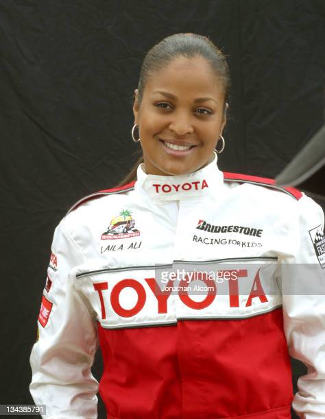 Laila Ali during 2004 Toyota Long Beach Grand Prix Pro/Celebrity Race Press Day at LB Grand Prix Pit Lane in Long Beach California United States
