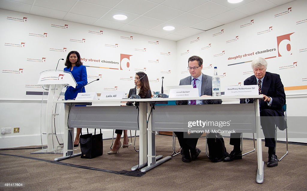 Laila Ali, Wife of Former Maldivian President Mohamed Nasheed, Amal Clooney, Jared Genser and Geoffrey Robertson QC attend a press conference regarding the detention of Mohamed Nasheed, President of the Maldives at Doughty Street Chambers on October 5, 2015 in London, England. Clooney is part of an international legal team seeking to release Maldivian President Mohamed Nasheed after he was was jailed for 13 years. The UN have found Nasheed's detention in violation of international Law.