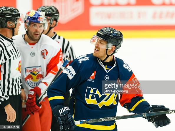 Laine Teemu of HV71 reacts to the referee during the Champions Hockey League match between HV71 Jonkoping and Red Bull Salzburg at Kinnarps Arena on...