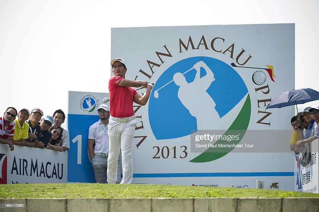 Laing Wen-chong of China hits his tee shot on the 10th hole during round four of the Venetian Macau Open on October 20, 2013 at the Macau Golf & Country Club in Macau. The Asian Tour tournament offers a record US$ 800,000 prize money which goes through October 20.