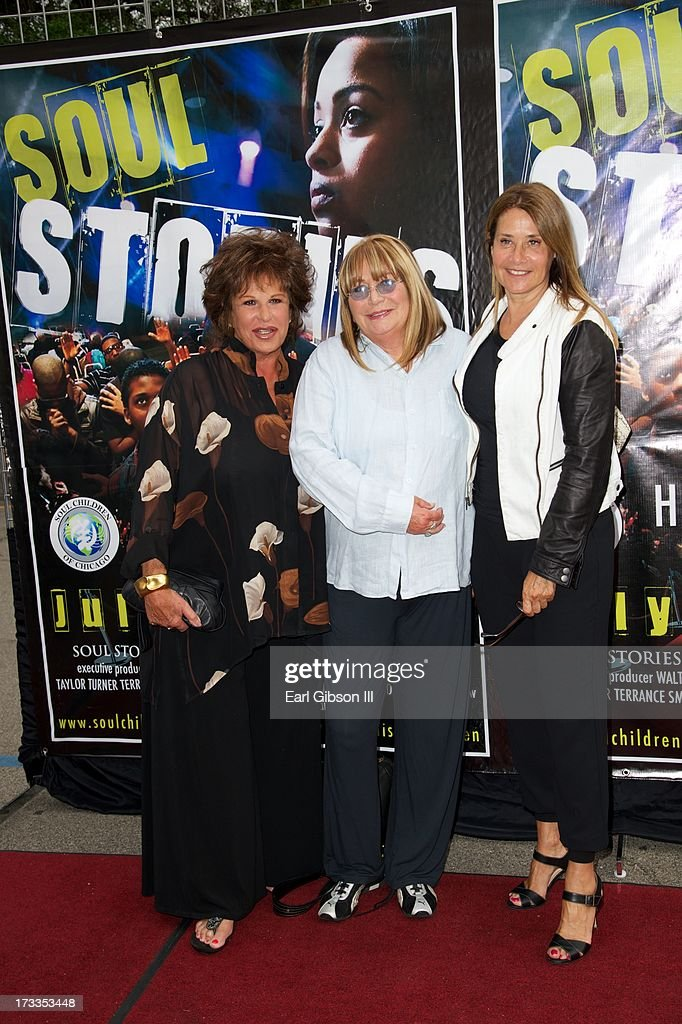 Lainie Kazan, Penny Marshall and Lorraine Bracco attend the premiere of 'Soul Stories' at Historic American Legion - Post 43 on July 11, 2013 in Los Angeles, California.