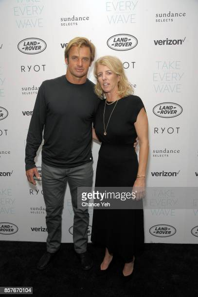 Laird Hamilton and Rory Kennedy attend 'Take Every Wave The Life Of Laird Hamilton' New York premiere at The Metrograph on October 4 2017 in New York...