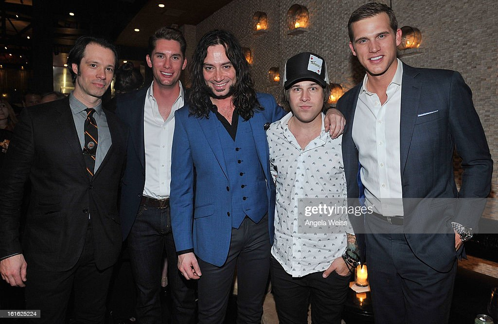 Laird Mackintosh, Kalon McMahon, Constantine Maroulis, Ryan Cabrera and Matt Nordgren attend the opening night after party of 'Jekyll & Hyde' held at Beso on February 12, 2013 in Hollywood, California.