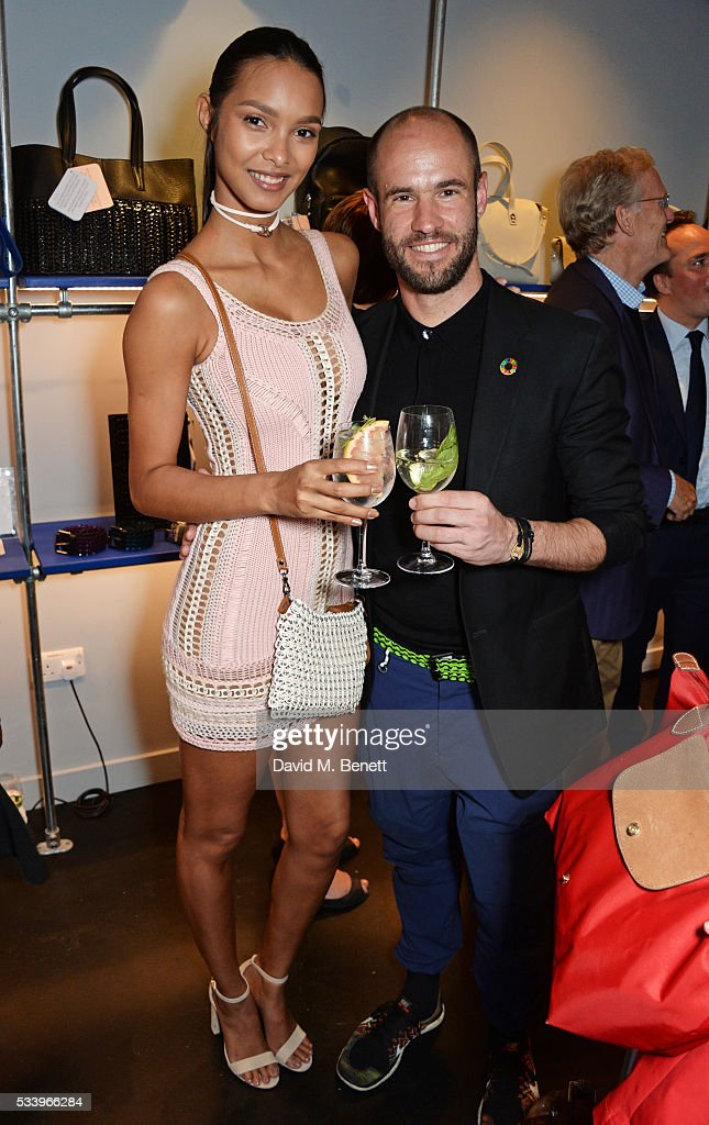 Lais Ribeiro (L) and Bottletop co-founder Cameron Saul attend the Bottletop Regent Street store launch on May 24, 2016 in London, England.