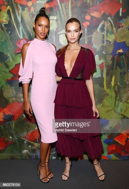 Lais Ribeiro and Josephine Skriver attend 2017 Take Home A Nude Art party and auction at Sotheby's on October 11 2017 in New York City