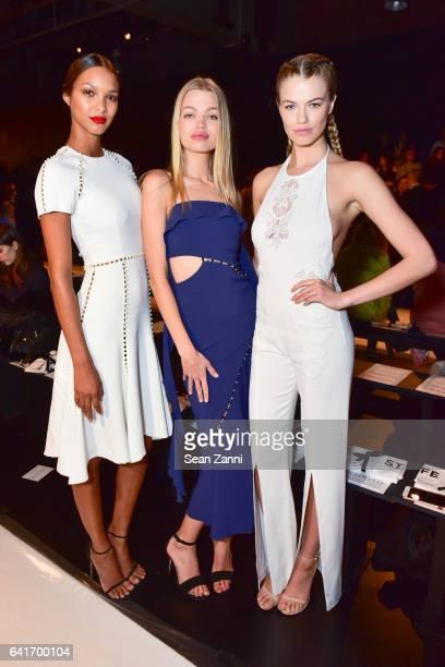 Lais Ribeiro Daphne Groeneveld and Hailey Clauson attend the Jonathan Simkhai show during New York Fashion Week at Skylight Clarkson Sq on February...