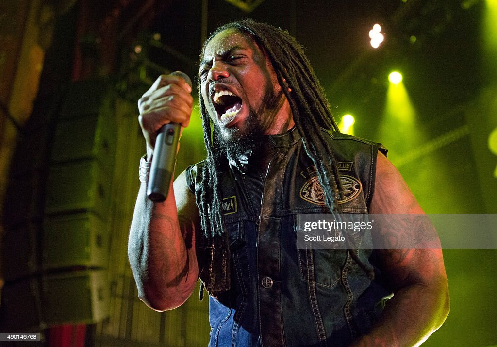 Lajon Witherspoon of Sevendust performs during the 1000HP Tour at The Fillmore Detroit on September 23, 2015 in Detroit, Michigan.