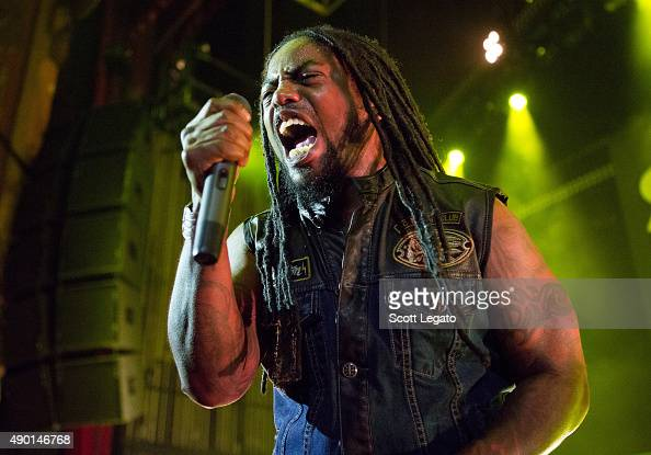 Lajon Witherspoon of Sevendust performs during the 1000HP Tour at The Fillmore Detroit on September 23 2015 in Detroit Michigan