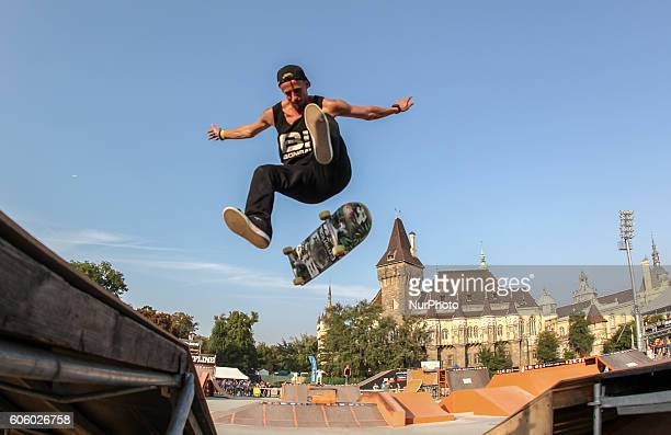 Lajos Petranyi aka Ostya of Hungary and BDSkate rider in action during the final of the 17th of OSG Offline Sport Games at Városliget on Sept 10 2016...