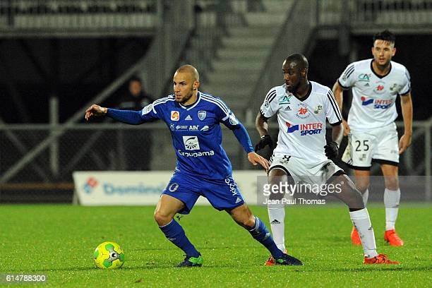 Lakdar BOUSSAHA of Bourg en Bresse during the Ligue 2 match between Bourg en Bresse and Amiens SC at Stade MarcelVerchere on October 14 2016 in...